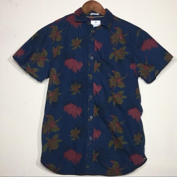 e41c4536 Denim & Flower Shirts | Navy Tropical Print Short Sleeve Button Down ...